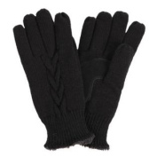 Isotoner Womens Black Cable Knit Gloves with Microluxe Lining