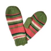 Urbanology Womens Green & Pink Striped Mittens with Fleece Lining