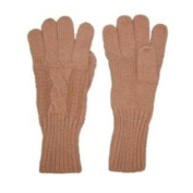 Fownes Womens Soft & Sleek Tan Cable Knit Gloves