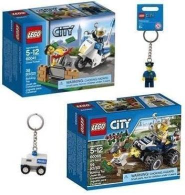 LEGO City Police Gift Bundle (4 Items): Crook Pursuit 60041, City ATV Patrol 60065, Policeman Minifigure Keychain 850933, Police Car Minifigure Bag Charm 850953,