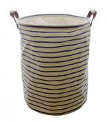 Sea Team 50cm Large Sized Waterproof Coating Ramie Cotton Fabric Folding Laundry Hamper Bucket Cylindric Burlap Canvas Storage Basket with Stylish Burgundy & White Stripe Design