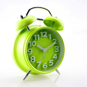 Loveface 10cm Silent Quartz Analogue Twin Bell Alarm Clock with Nightlight and Loud Alarm-Green