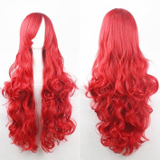 Womens Ladies Girls 80cm Red Colour Long Curly Wigs High Quality Hair Carve Cosplay Costume Anime Party Bangs Full Sexy Wigs