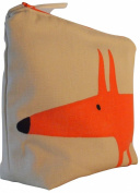Scion Mr Fox Neutral/Paprika Fabric. Toiletry Bag. Waterproof Lined Wash Bag, Cosmetic Bag