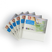 """set of 6 x CANVAS 4x4"""" (10x10cm) ARTIST BLANK STRETCHED & GESSO PRIMED FRAMED COTTON CANVAS"""