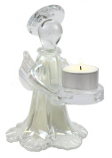 Glass Angel T-Light Holder 16cm (White Pearlescent) Complete with Long Life T-Light