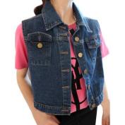 Women's Point Collar Button Down Slim Fit Denim Cropped Vest