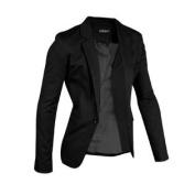 Azzuro Men's Notched Lapel Centre-Vent Back One-Button Blazer Black