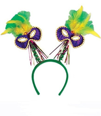 Mardi Gras Mask W/feathers Boppers W/snap-on Headband Pkg/6