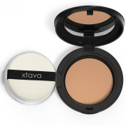Perfect Skin Caramel Powder Pact Matte Pressed Powder - Shine Free Oil Control for Poreless HD Results - Compact Makeup Mirror Included