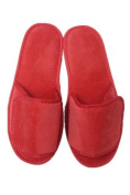 Terry Velcro Open Toe Unisex Slippers - Red By TowelRobes