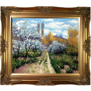 Claude Monet 'Trees in Bloom' Hand-painted Framed Canvas Art