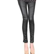 Juniors Rib Elastic Waist Faux Leather Panel Skinny Leggings