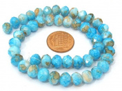 50 Beads- Beautiful faceted glass beads aqua blue colour with brown spots 8 mm - AB041