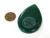Rose flower etched green agate teardrop shape focal pendant bead - GM391A