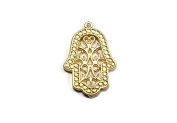 Foxy Findings Hamsa Collection Small Hand of Fatima 24k Gold Plated Brass Boho Charm Pendant 24mm Set of 3