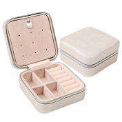 Novadeal Portable Mini Travel Jewellery Display Box PU Leather Earrings Stud Rings Accessories Storage Organiser with Zipper - Grey