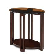 Oval Bronze Glass Top Contemporary Side Table