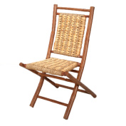 Striped Brown Finish Bamboo Folding Chair