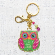 "Natural Life Glitter & Gold Owl Shaped Key Chain ""Live Love Laugh"""