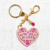 "Natural Life Glitter & Gold Heart Shaped Key Chain ""You are So Loved"""