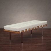 Andalucia 130cm Modern White Leather Bench