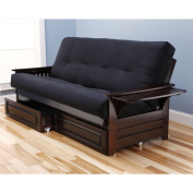 Somette Ali Phonics Espresso Full-Size Futon Set with Suede Mattress and Storage Drawers