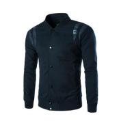 Azzuro Men's Stand Collar Long Sleeves Panelled Varsity Jacket Blue