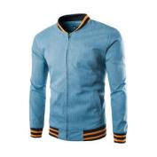 Azzuro Men's Long Sleeve Full Zipper Stand Collar Slim Fit Jacket Blue
