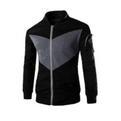 Men Long Sleeve Zip Up Contrast Colour Casual Jacket Black M