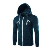 Azzuro Men's Long Sleeves Zip Up Kangaroo Pocket Casual Drawstring Hoodie Blue