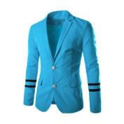Men Notched Lapel Two Flap Pockets Casual Blazer Blue M