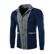 Azzuro Men's Long Sleeves Colour Block Button Down Zigzag Print Jacket Blue