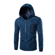 Azzuro Men's Long Sleeve Full Zipper Slim Fit Windbreaker Hoodie Jacket Blue