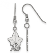 925 Sterling Silver Rhodium-plated Sororities Alpha Phi Small Dangle Earrings