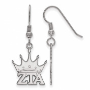 925 Sterling Silver Rhodium-plated Sororities Zeta Tau Alpha Small Dangle French Wire Earrings