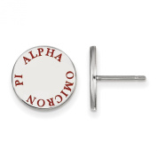 925 Sterling Silver Rhodium-plated Sororities Alpha Omicron Pi Enamelled Circle Post Earrings