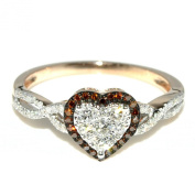 0.4cttw Heart Shaped Diamond Ring Rose Gold Red and White Diamonds Engagement