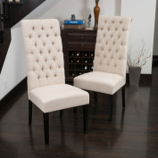 Christopher Knight Home Tall Dark Beige Tufted Fabric Dining Chair