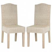 Safavieh Odette White Washed Wicker Dining Chairs