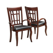Dark Cherry and Leatherette Armchairs