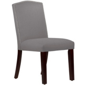 Skyline Furniture Grey Linen Nail Button Arched Dining Chair
