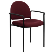 Pagoda Burgundy Upholstered Stack Arm Chairs