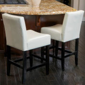 Christopher Knight Home Lopez Ivory Leather Counterstools