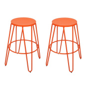 Adeco Metal Stackable Round Top Backless Barstools