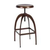 Adeco Industrial Style Stainless Steel Round Top Barstools