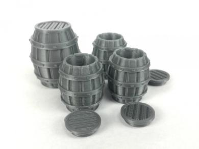 4 Barrel Set - (3) Open Barrels with lid (1) Large Barrel 28mm Scale 3d Printed - Unpainted