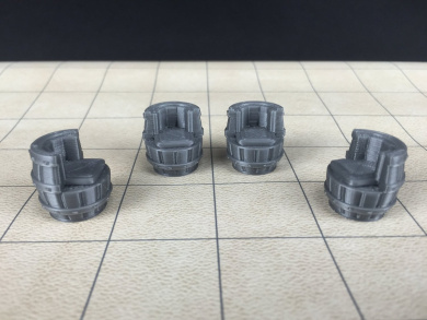 4 Whiskey Barrel Chairs - Tavern Series - Unpainted 28mm Scale Miniature 3D Printed