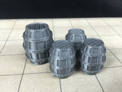 4 Whiskey Barrels Tavern Series - 28mm Scale 3d Printed - Unpainted Miniatures