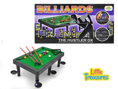 Petite Billiards- the classic pool table set with 6 stands with attached side/corner pockets; an animated play of snooker fun through the help of triangular rack, colourful snooker balls & cue sticks
